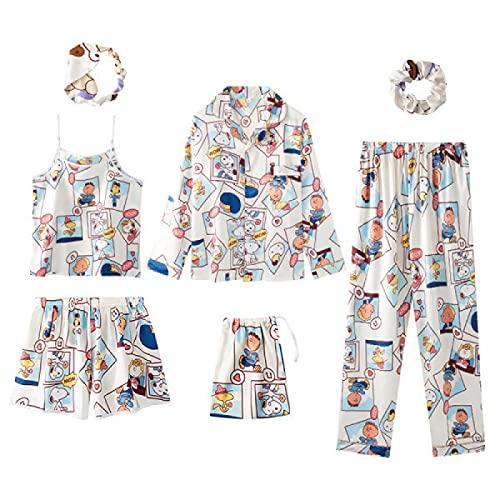 UMSA Pijama de 7pcs de Mujer Set Cami PJs con Camisa y máscara de Ojos(Relación del sprum,XL)
