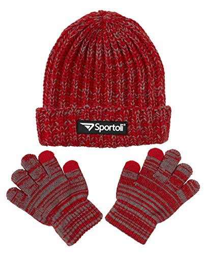 Sportoli Boys' Kids Knit Cold Weather Accessory Set Warm Hat, Scarf and Gloves (Red)