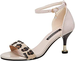 Randolly Women's Shoes Summer High Heel Sandals Flock Leopard Party Round Toe Shoes