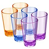 EggFoil Unbreakable Drinking Glasses, 5 Oz Plastic Tumblers Cups set of 6 in 3 Assorted Colors