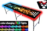 PartyPongTables.com 8-Foot Beer Pong Table with Cup Holes and LED Lights - Bubbles Edition