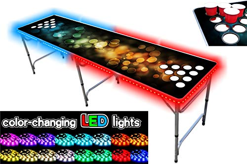 Great Features Of PartyPongTables.com 8-Foot Beer Pong Table with Cup Holes and LED Lights - Bubbles...
