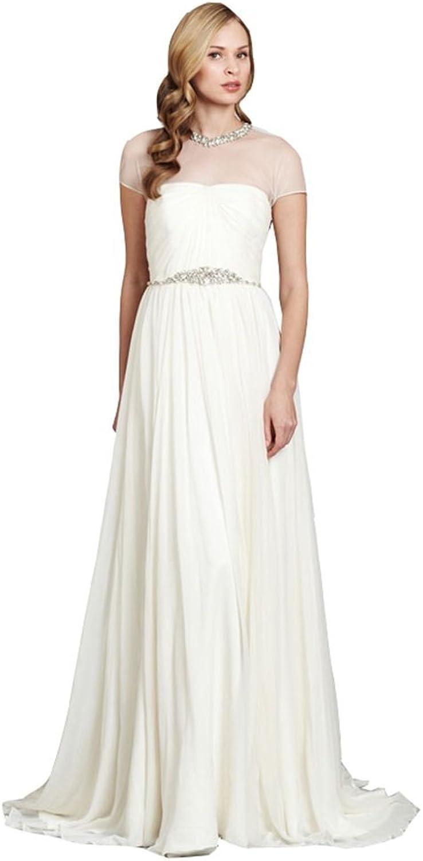 Irenwedding Women's Jewel Beaded Crystals Waist Hollow Beading Back Wedding Dress
