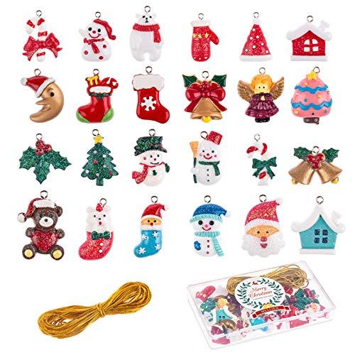 MELLIEX 24 Piezas Mini Adornos Navideños de Resina, Colgantes Navideños Miniaturas Decoración de Árboles de Navidad para Decoración HogarJardín Bonsái Casa de Muñecas