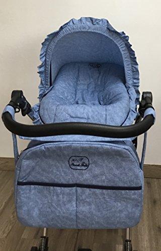 Colchoneta para silla de paseo universal vaquero mas capota y bolso. Funda silla de coche. Mundi Bebé.