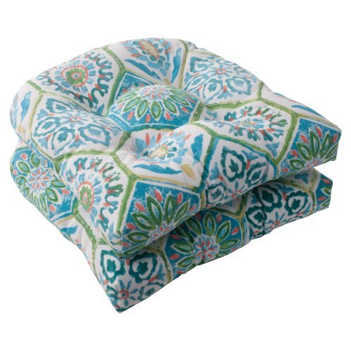 Pillow Perfect Indoor/Outdoor Summer Breeze Wicker Seat Cushion, Pool, Set of 2 by Pillow Perfect