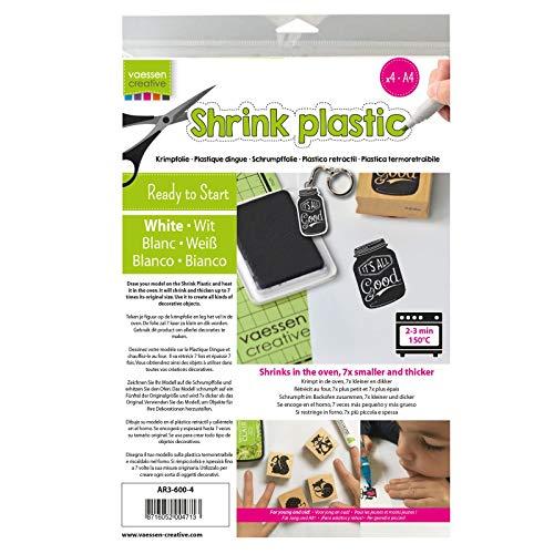 Vaessen Creative Plastica Termoretraibile, Bianco, 4 Fogli, Formato A4, Progetti Creativi Divertenti per Tutte Le età, 21x29.8x0.3 cm