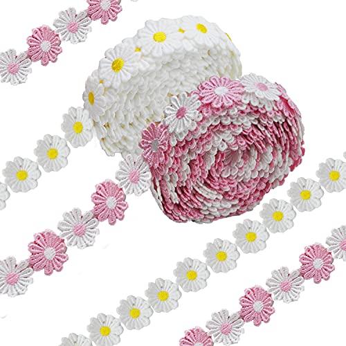 10 Yard 25mm Spitzenband Blumen Spitzenborte Stickerei Spitzenbordüre Blumenband Zierband Gänseblümchen Dekoband Spitzen Borten Bänder zum Nähen, Basteln, Deko (Gänseblümchen)