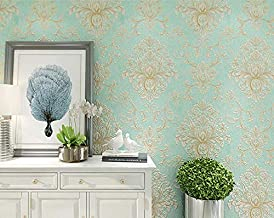 3d impermeable moderno 5.3㎡ 3d Wallpaper Embossed Texture Glitter Baroque Damask Featured Vintage Blue Wall Covering Wall Paper