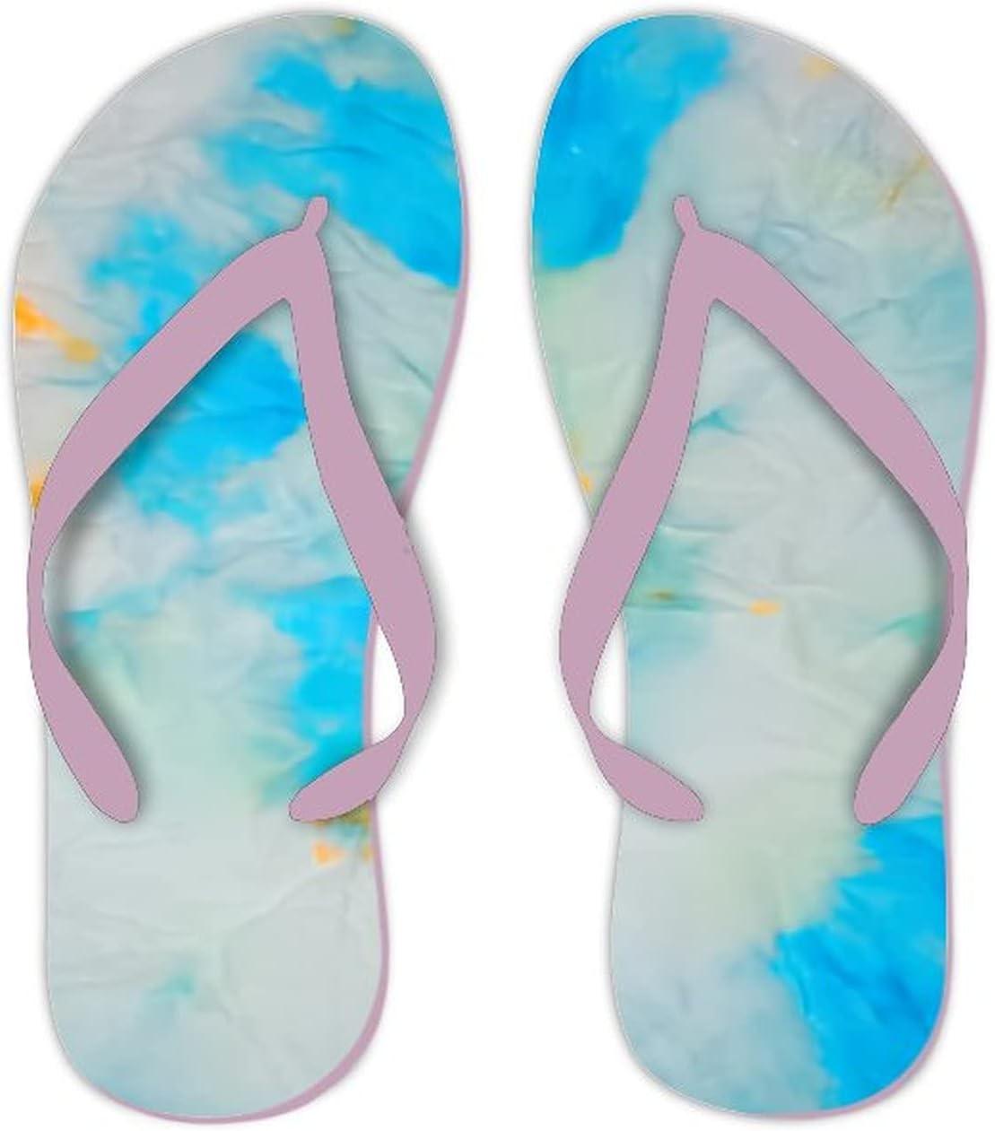 UTF4C Summer Flip Flops for Men Women White tie dye Watercolor Soft Lightweight Non Slip Sandals for Shower Beach Pool Bathroom Flat 10