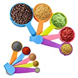 Measuring Cups and Spoons Set, Colorful Measuring Spoons Plastic Measuring Cups Set for Measuring Dry and Liquid Ingredients Perfect for Backing and Cooking (Set of 10)