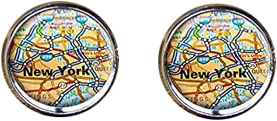 Death Devil Handmade Cuff Links,New York map Cufflinks, Map Cufflinks, New York map Jewelry,Gift of Love