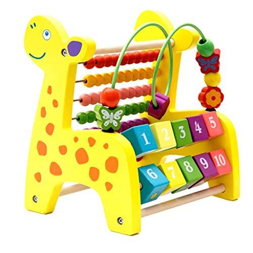 Backbayia Holz Fawn 3 in 1 Kinder Lernspielzeug mit Bunte Perlen Abakus / Anzahl Rollender Blöcke / Xylophon