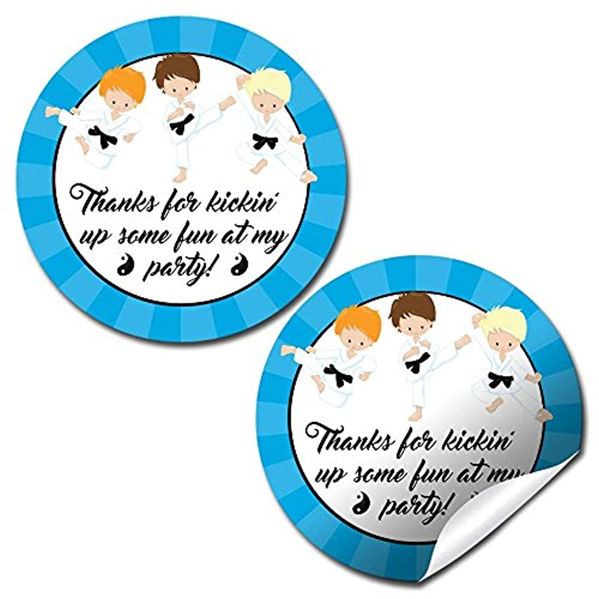 Karate Martial Arts Boy Thank You Birthday Party Sticker Labels, 40 2