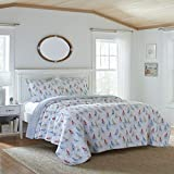 Laura Ashley Home Ahoy Collection Quilt Set-100% Cotton, Reversible, Lightweight & Breathable, Pre-Washed for Added Softness, King, Bright
