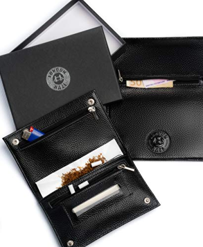Portatabacco in pelle nero con logo London Haze in rilievo - astuccio porta tabacco - Idea regalo per fumatore. Black leather Tobacco Pouch