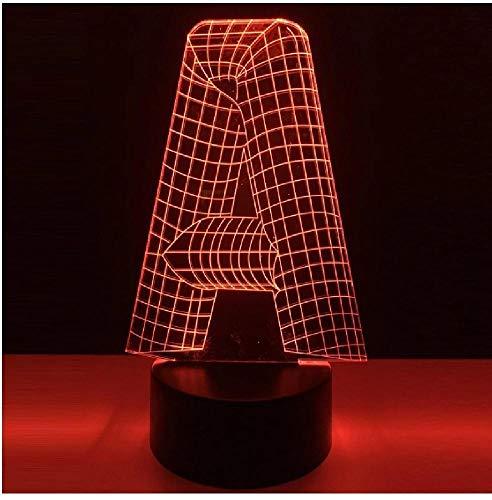 Lámpara 3D Alfabeto Letra A 7 Cambio de color Mesa de escritorio Iluminación Controlador de interruptor táctil Usb Decoración de la barra del hogar Niños