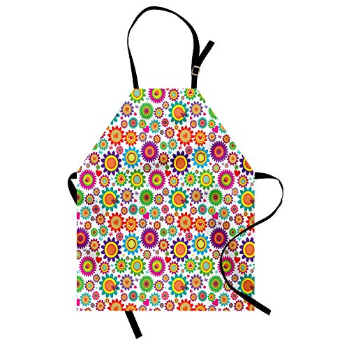 Viowr22iso Adjustable Bib Aprons, Easter Apron Garden Livens up with Colorful Camomile and Hearts Love of Nature Theme Kitchen Cooking Aprons for Crafting BBQ Drawing Outdoors, Multicolor