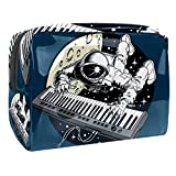 Bolsa de Maquillaje Astronauta, Tocar el Piano Bolsa Cosmetica Portátil Viaje de Maquillaje Organizador Bolsa de Almacenamiento de Maquillaje 18.5x7.5x13cm