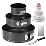 "Hiware Springform Pan Set of 3 Non-stick Cheesecake Pan, Leakproof Round Cake Pan Set Includes 3 Piece 4"" 7"