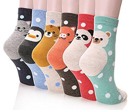 Damen Socken 3-6 Pack von Happytree, Spaß und Coole Charakter entworfen Baumwolle gemischt Geschenkidee für Cat und Hund Liebhaber.