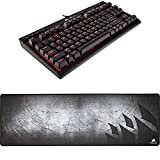 CORSAIR K63 Compact Mechanical Gaming Keyboard - Linear & Quiet - Cherry MX Red and CORSAIR MM300 - Anti-Fray Cloth Gaming Mouse Pad - High-Performance Mouse Pad Optimized for Gaming Sensors - Designed for Maximum Control - Extended