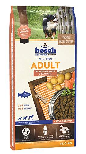 bosch HPC Adult mit frischem Lachs & Kartoffel | Hundetrockenfutter für ausgewachsene Hunde aller Rassen | 1 x 15 kg