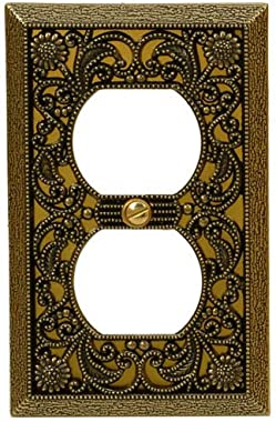 Amerelle 65DAB Filigree Cast Metal Wallplate 1 Duplex Outlet Antique Brass