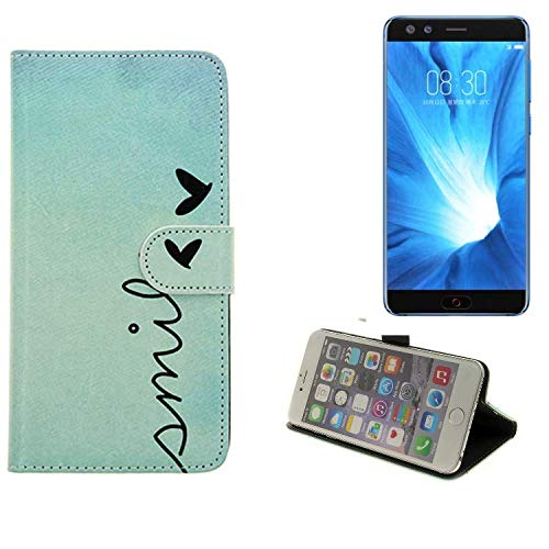 K-S-Trade® Schutzhülle Für Nubia Z17 Mini S Hülle Wallet Case Flip Cover Tasche Bookstyle Etui Handyhülle ''Smile'' Türkis Standfunktion Kameraschutz (1Stk)