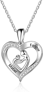 Personalized Mother Necklace Free Engraving Mother and Child Love Heart Pendant Necklace Mother Daughter Necklace with Mom and Baby Name