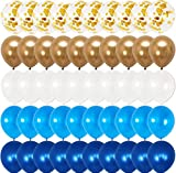 Royal Blue and Gold Balloons Set - Pack of 60 | Gold Confetti Balloons, Navy and White Balloons | Blue and Gold Balloon Garland Kit | Blue and Gold Balloons for Birthday, Baby Shower, Graduation Party