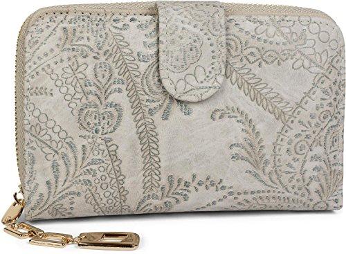styleBREAKER Geldbörse mit Paisley Blumen Blüten Prägung, umlaufender Reißverschluss, Portemonnaie, Damen 02040098, Farbe:Hellgrau