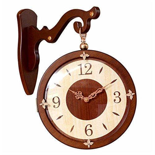 Massivholz Doppelseitige Wanduhr Wohnzimmer Kreative Uhr Mode Einfache Uhr Hause Retro Quarzuhr