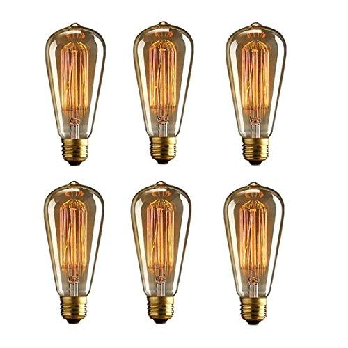6 Pack ST64 40W Vintage Edison Glühbirnen,KINGCOO E27 220V Eichhörnchenkäfig Dimmable Filament Glühlampen Klarglas Licht Lampe Birnen für Home