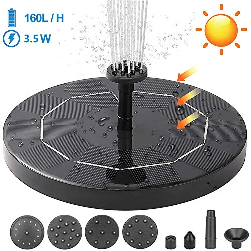 Yakuin 3.5W Solar Fountain Pump, Solar Water Pump Floating Fountain Built-in 1200mAh Battery, with 6 Nozzles, for Bird Bath, Fish Tank, Pond or Garden Decoration Solar Aerator Pump