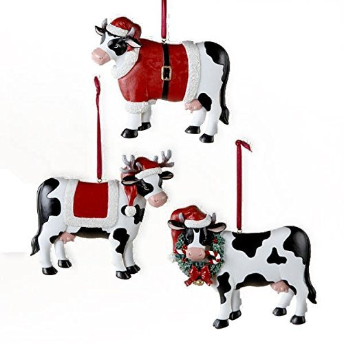 Country Marketplace Christmas Cow Ornament 3 Assorted