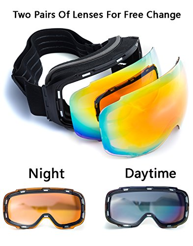 Anti-Fog Anti-UV Windproof Unisex Ski Goggles with Replaceable Spherical Lenses...