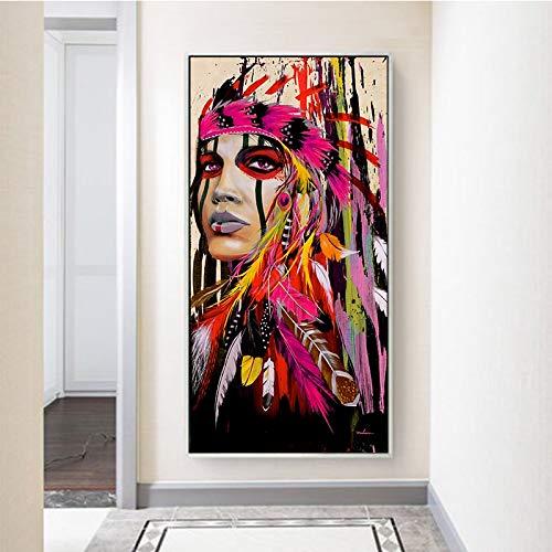 KWzEQ Colorido Cartel de decoración de Sala de Arte de Pared de niña africana50X100cmPintura sin Marco