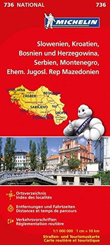 Michelin Slowenien Montenegro Bosnien Kroatien Serbien: Straßen- und Tourismuskarte (MICHELIN Nationalkarten)