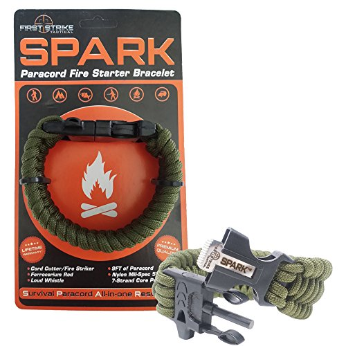 SPARK (TM) Fire Starter Outdoor Survival Paracord Bracelet Army Olive Green with Black Whistle Side...