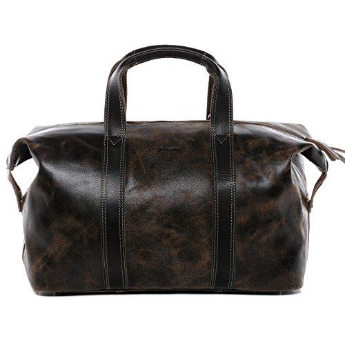 BACCINI® borsa viaggio tracolla vera pelle LEON borsone bagaglio a mano sportiva 33 l duffle bag weekend uomo donna cuoio marrone