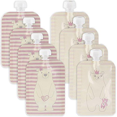 Golden Lutz® Wiederverwendbare Quetschbeutel zum selber befüllen - BPA-, PVC- und Phthalate-frei (130 ml, rosa, 8er Pack)