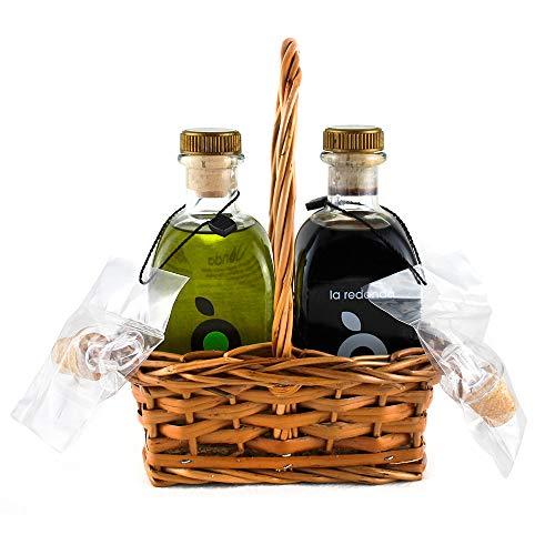 Cesta Regalo Aceite de Oliva Virgen Extra y Vinagre Balsámico Gourmet La Redonda – Proyecto Apoyo a Artesanos Detalle Cesta Mimbre Hecho a Mano – Botellas 250 ml