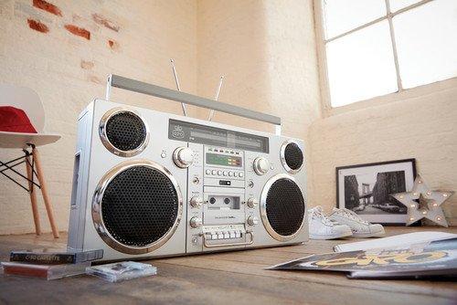 GPO Brooklyn 1980S-Style Portable Boombox - CD Player, Cassette Player, FM Radio, USB, Wireless Bluetooth Speaker - Silver
