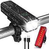 Babacom Luz Bicicleta, Luces Bicicleta USB Recargable con 5 Modos, IPX5 Impermeable Alta Potencia Luces Bicicleta Delantera y Trasera para Ciclismo de Carretera Seguridad en La Noche