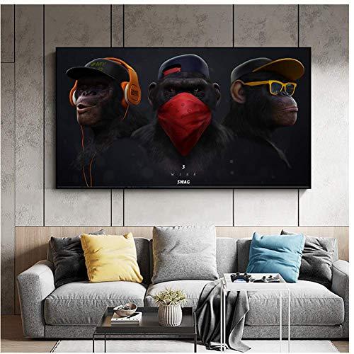 Grote dieren foto Canvas afgedrukt schilderij moderne grappige masker Monkey moderne Art Print Wall Art Poster voor woonkamer-70x120cm geen Frame