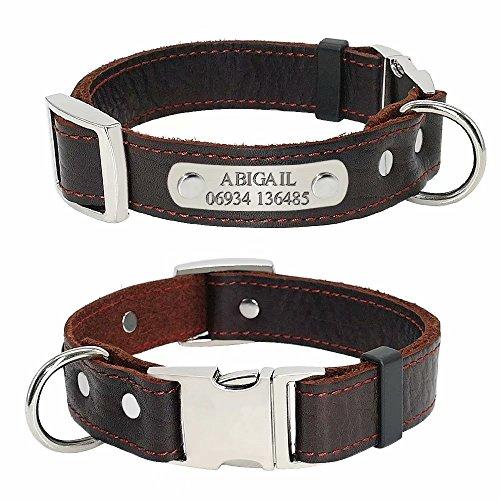 Didog Collar de perro de cuero genuino suave liso con etiqueta de identificación de placa de identificación, collares de cuero personalizados para perros pequeños y medianos