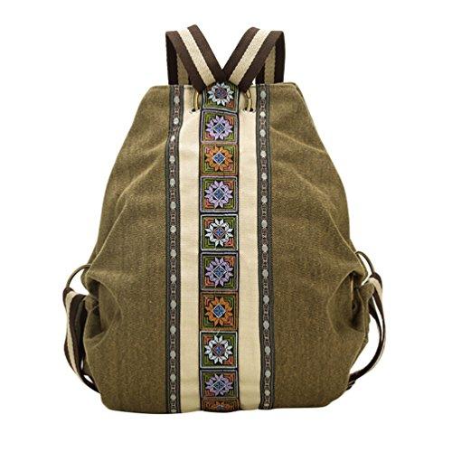 YouPue Frauen Vintage Rucksack Outdoor Freizeit Schultasche Grün
