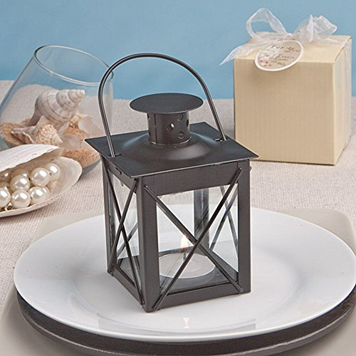 Luminous Black Mini-Lantern Tea Light Holder - Set of 25