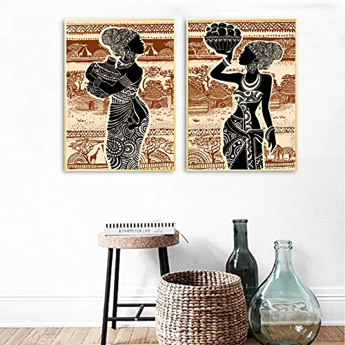 Gymqian Hermosa Chica Africana Vintage Poster Wall Art Canvas Painting PrintPaisaje Imagen de la Pared para la Sala de Estar Decoración del hogar 60x80cmx2 Sin Marco